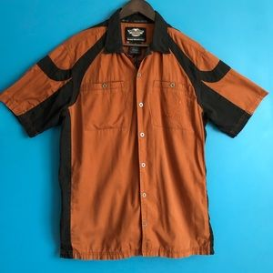 Harley-Davidson Garage Shirt Men's L Orange Black